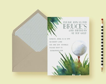 Golf Themed Birthday Party Invitation, Golf Outing Tournament Invite, Master's Party, Men's Birthday, Retirement Party, Printable, Printed