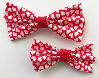 Tiny Hearts Hair Bows with Alligator Clip