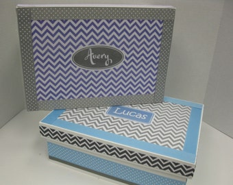 GIFT SET of Twin Boy/Girl Keepsake Boxes- Personalized