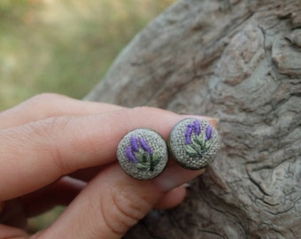 Embroidery Earrings,Flower stud earrings,Lavender flower,Earring Studs Floral,Small stud earrings,Purple flower earrings,Embroidered jewelry
