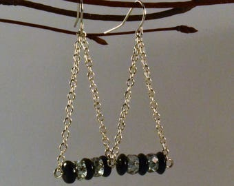 Classic Black and Gray Crystal with Silver Chain Chandelier Earrings