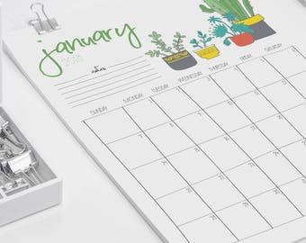 2018 Printable Wall Calendar // Plant Lady