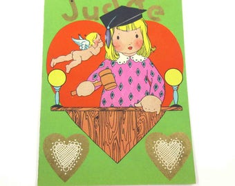 Vintage Children's Novelty Valentine Greeting Card with Judge and Cupid Court Law by Carrington