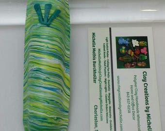 Mezuzah Green Blue Yellow striped (#35)