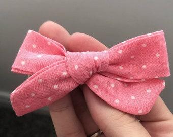 Linen Bow-Pink Polka Dots
