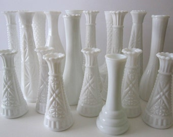 Set of 20 Vintage White Milk Glass Vases Wedding Decor Centerpiece