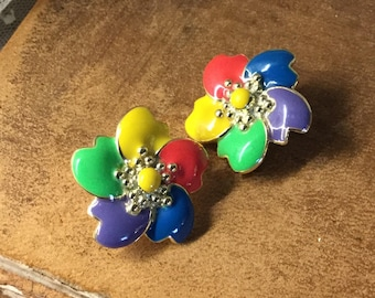Brightly Coloured Flower Floral Enamel Earrings Clip On Unsigned Gold Tone Metal Yellow Green Blue Purple Red Primary Colours Five Petals