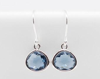 Small earrings silver blue dark blue Earrings