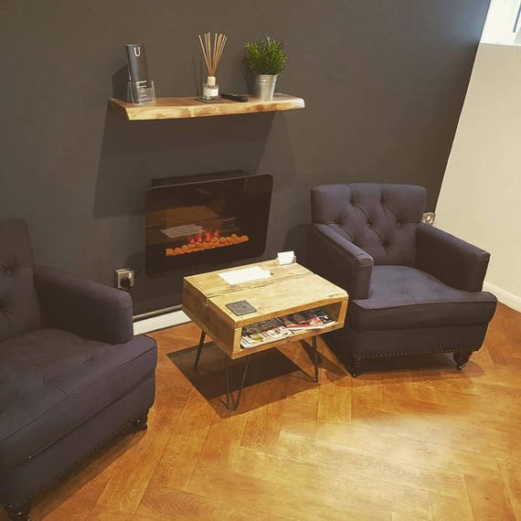Retro Coffee Table With Metal Hairpin Legs With Storage Space