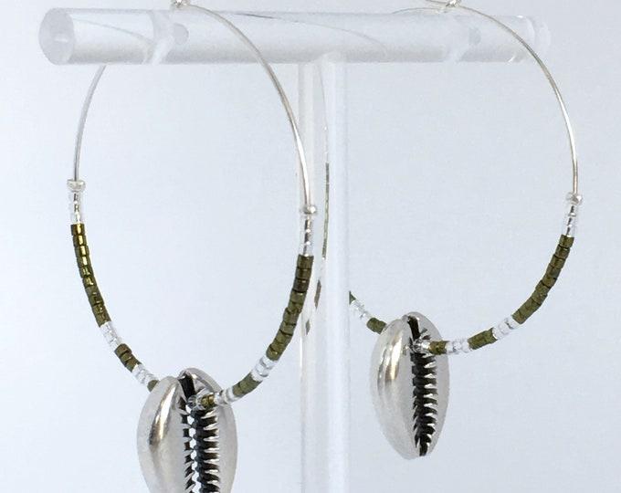 Cowrie shell earrings, Silver plated hoop earrings with metal cowrie bead and green miyuki beads