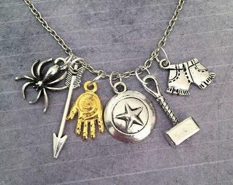 ORIGINAL DESIGN Superheroes Necklace, Superhero Jewelry, Fandom Jewelry, Fandom Necklace, Avenging Jewelry, Comic Book Jewelry, Cosplay Jewe