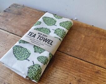 Tea Towel Kitchen towel with Hops screen print brewer beer lover
