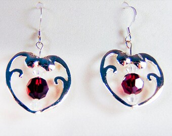 SILVER HEART EARRING,  heart earrings, heart jewelry, Swarovski crystal, deep red crystal, Swarovski Siam crystal - 1856