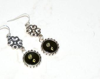 Typewriter Key Earrings –  Funky Function Keys, Vintage Style Literary Jewelry, gift for her.