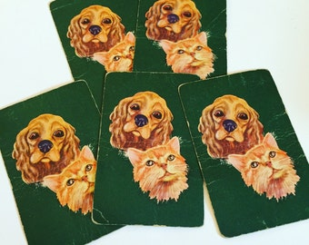 Vintage Cocker Spaniel Puppy and Orange Kitty Playing Cards