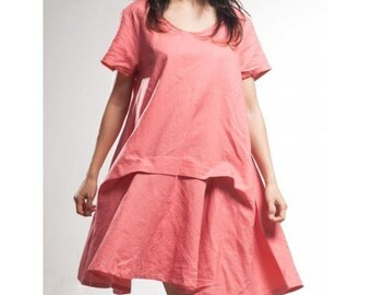 Pleated Effect Asymmetrical Hoodie Dress / 28 Colors/ Any Size/ RAMIES