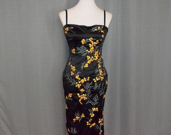 Mandalay Satin Dress // Embroidered with Sequins & Beading // Mid-calf // Size 8