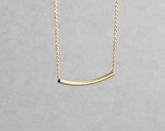 Curved Gold Bar Necklace Sliding Bar Necklace 14K Gold Fill Yellow Gold Rose Gold Layering Necklace Mother's Day Gift Gold Tube Necklace