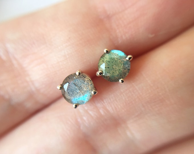 Medium Faceted Labradorite Stud Earrings in sterling silver - sterling silver labradorite earrings - labradorite studs - gemstone studs