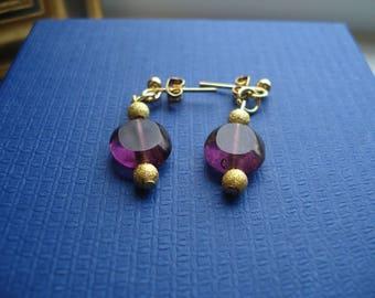 Purple oval glass beaded stud earrings