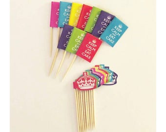 Keep Calm And Party On Cupcake Picks 20 Pack