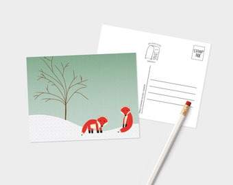 Monsieur renard et ami (e) carte postale - renard amant carte postale - Postcard mignon Animal hiver - renard carte postale - carte postale pour amateur de renard - carte postale d'hiver