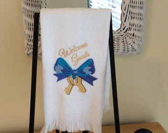 """Hand Towel - Finger Tip Towel, Guest Towel - """"Welcome Guests""""  -  Embroidered"""