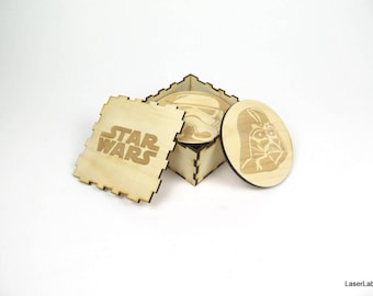 Star Wars wooden coasters - set of 9 pieces - the main characters + DYI box