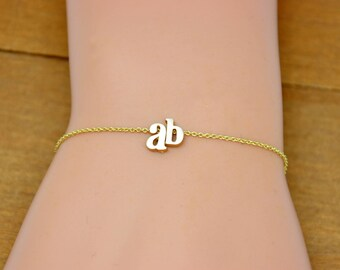 Minimal Initial Bracelet in Gold or Silver, Personalized name Bracelet, Letter Charm Bracelet, Gift for her, Bridesmaids Jewelry