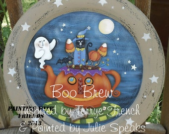 Primitive Halloween E Pattern Boo Brew Terrye French Painting With Friends Ghost Teapot