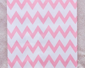 12 Designer Pink Chevron Paper Bags - Additional Items Ship Free!!!