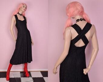 80s Black Floral Lace Maxi Dress/ US 9-10/ 1980s