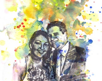 Custom Family Portrait Painting, Your Favorite Anything in a Splash of Color Custom Portrait Painting Wall Art, wonderful personalized gift