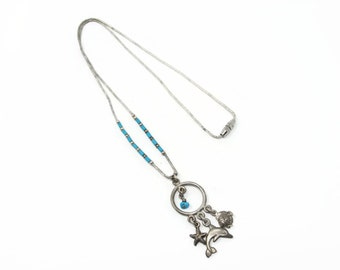Liquid Sterling Silver Turquoise Necklace from 1979, Dolphin Starfish Sea Charms