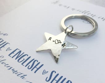 Personalised Solid Silver Star Hammered Keyring  birthday  wife gift  gift for husband  boyfriend gift  New home gift  initials