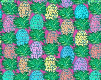 Judith's Fancy by Jennifer Paganelli, Pineapples in Pink, Free Spirit Fabrics, Pineapple Fabric, Hawaiian Fabric, Tropical Fabric, Hot Pink