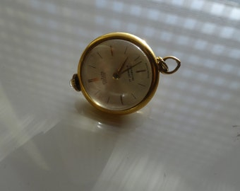 Seven jewels vintage watch pendant, electro plated gold
