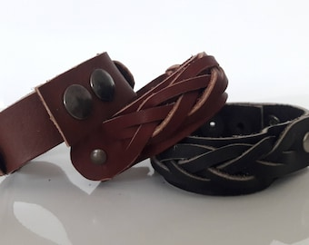 Brown leather braided bracelet bold smooth cowhide