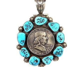 1963 Ben Franklin Half Dollar Coin Sleeping Beauty Turquoise 925 Silver Pendant