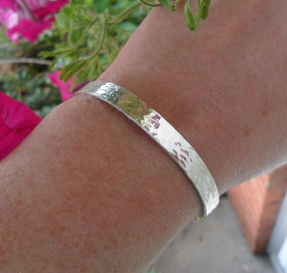 Custom Cuff Bracelet - Sterling Silver Cuff - Personalized Cuff Bracelet - Organic Jewelry - Hammered Cuff - Secret Message Bracelet