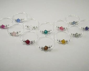 12 wine charms | Swarovski ® Crystal Elements wine glass charms | gift box | unique wine gift - party wine charms - wine charm set SSC12-1
