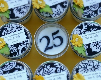 25th Anniversary Favors / 20 4oz soy candles / Choose A Design / Your Year / anniversary party / yellow daisy / black paisley