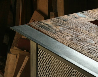 grey sky kitchen island - modern industrial - from reclaimed wood and steel, on wheels, super mobile - bar cart, coffee bar