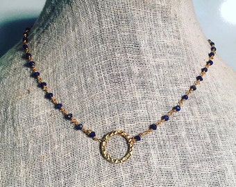 Navy Disk Necklace