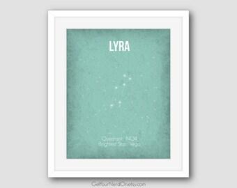 Lyra Constellation, Astronomy Nerd Art, Baby Nursery Decor, Best Seller