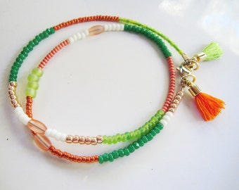 Green and Orange Tassel Bracelet, Boho Bracelet, Irish Flag Colors, Friendship Bracelet, Hippie Bracelet, Redpeonycreations