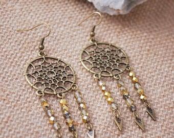 Hippie Dream Catcher earrings, summer boho spike earrings, bohemian long earrings, magical gypsy earrings