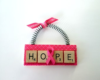 Hope Fight  Breast Cancer Scrabble Tile Ornaments