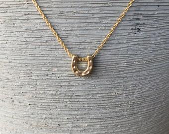 Gold horseshoe necklace silver horseshoe necklace