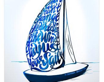 "Printable: ""Adjust your Sails"" sailboat / hand lettering inspirational poster"